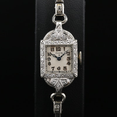 14K and Diamond Elgin Stem Wind Wristwatch, Circa 1938