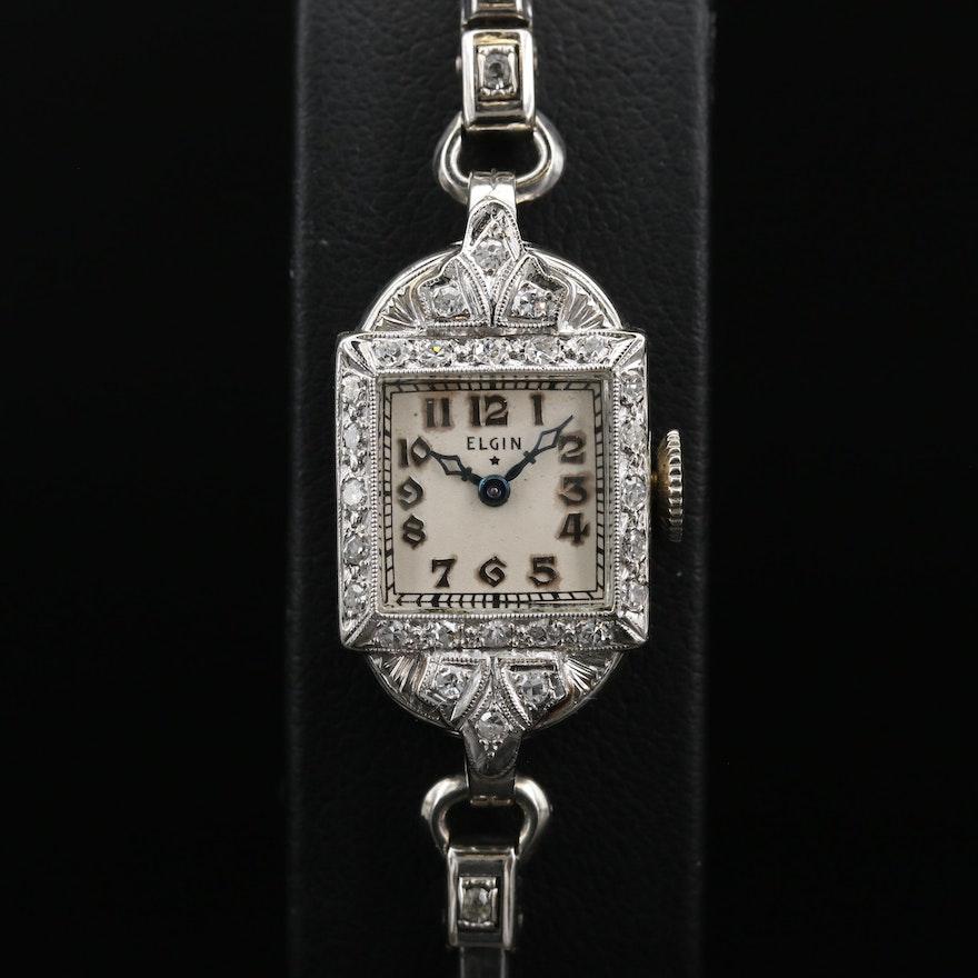 14K and Diamond Elgin Stem Wind Wristwatch, Circa 1938