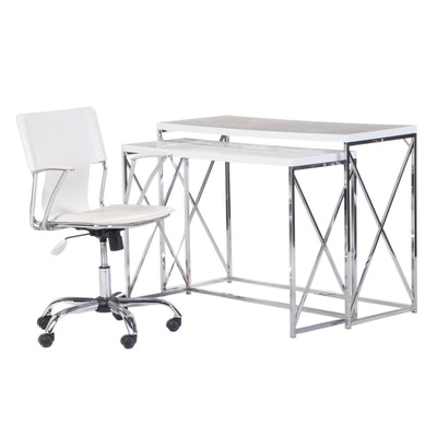 Contemporary Modern Lacquered Top Chrome Nesting Tables
