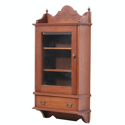 Victorian Walnut Hanging Cupboard, Late 19th Century