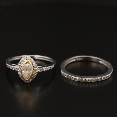 14K Diamond Ring and Band Set Featuring Navette Shaped Center