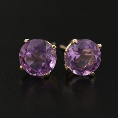 14K Round Faceted Amethyst Solitaire Earrings