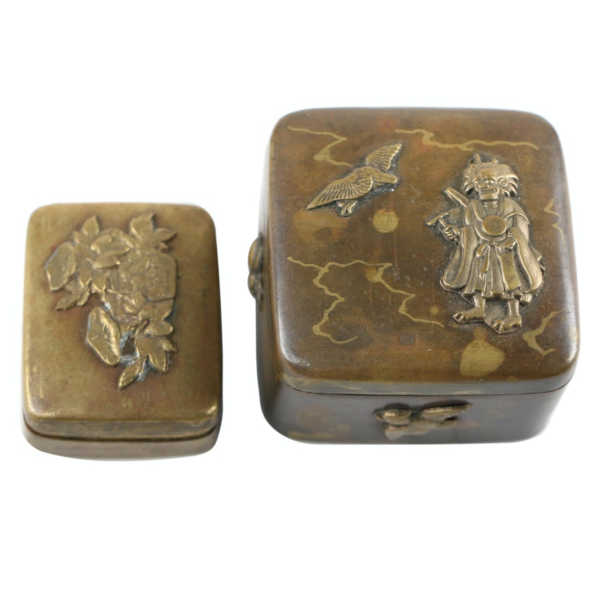 Decorative Metal Pill Boxes with Applied Designs