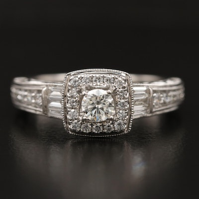 10K Diamond Halo Open Scrollwork Ring
