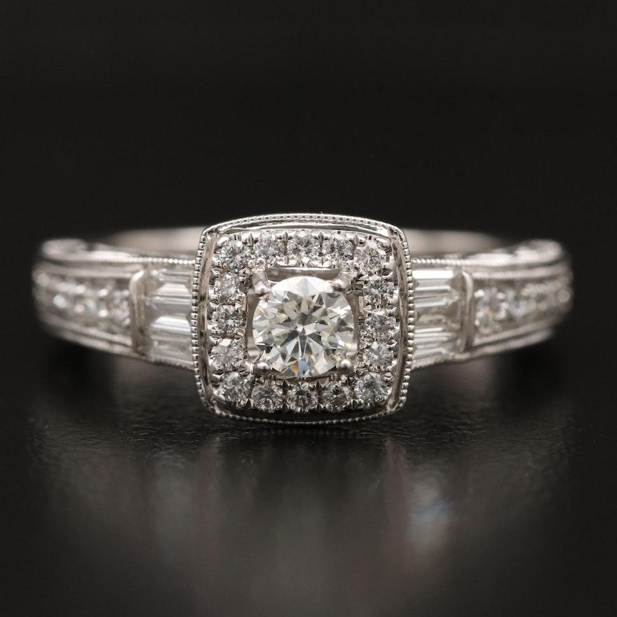 10K Diamond Halo Open Scrollwork Ring