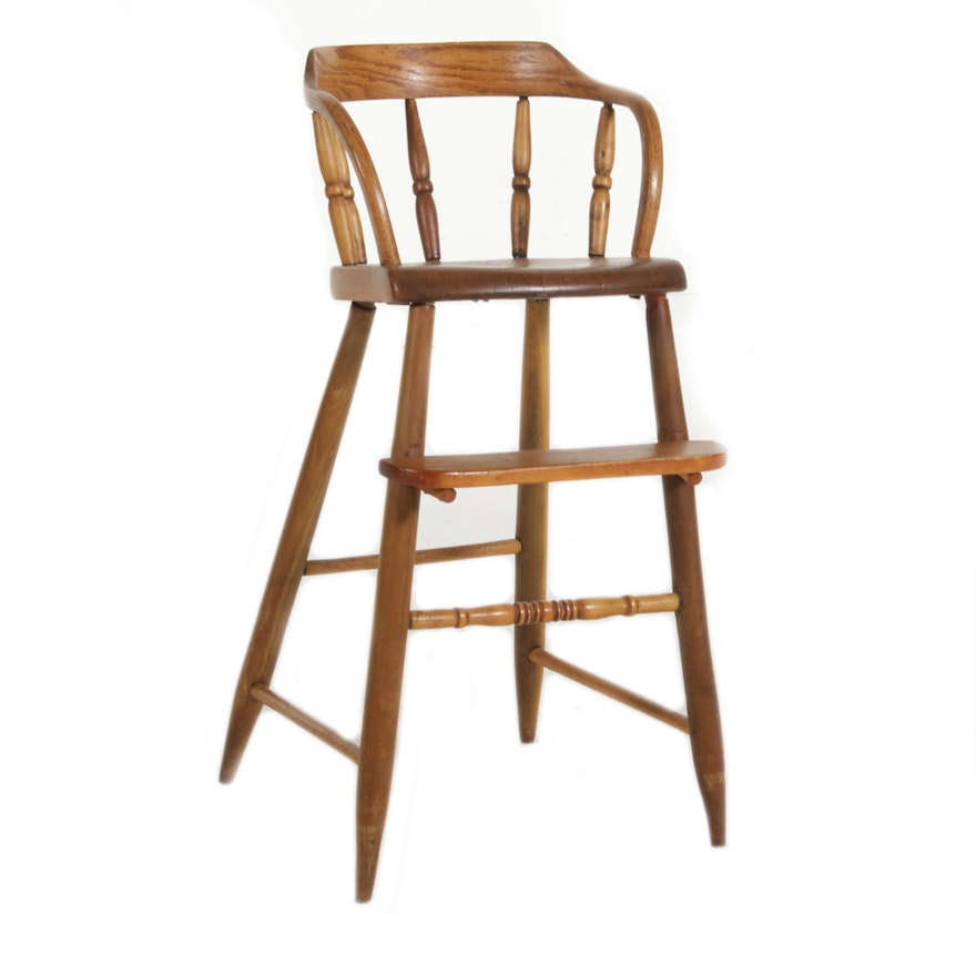 American Primitive Oak and Pine Barrel Back Child's High Chair, 19th Century
