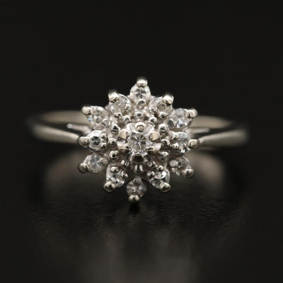 14K Diamond Ring with Floral Motif