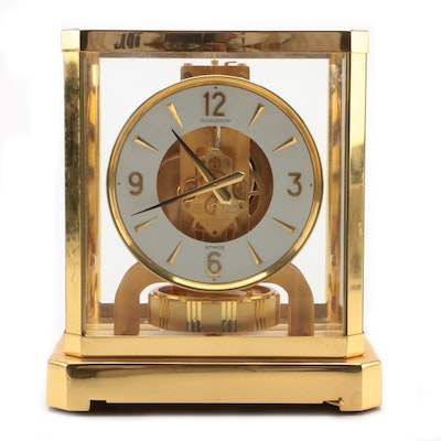 Jaeger-LeCoultre Swiss Gilt Brass 15 Jewels Perpetual Atmos Clock