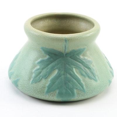 Stoneware Green Maple Leaf Motif Glazed Vessel, Early 20th Century