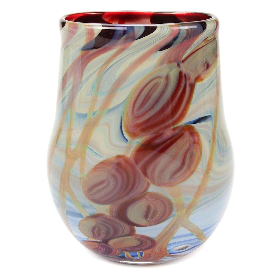 "Nick Delmatto ""Aqua Blue and Amber"" Handblown Art Glass Vase, 2017"