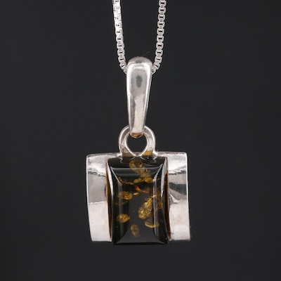 Sterling Amber Pendant Necklace