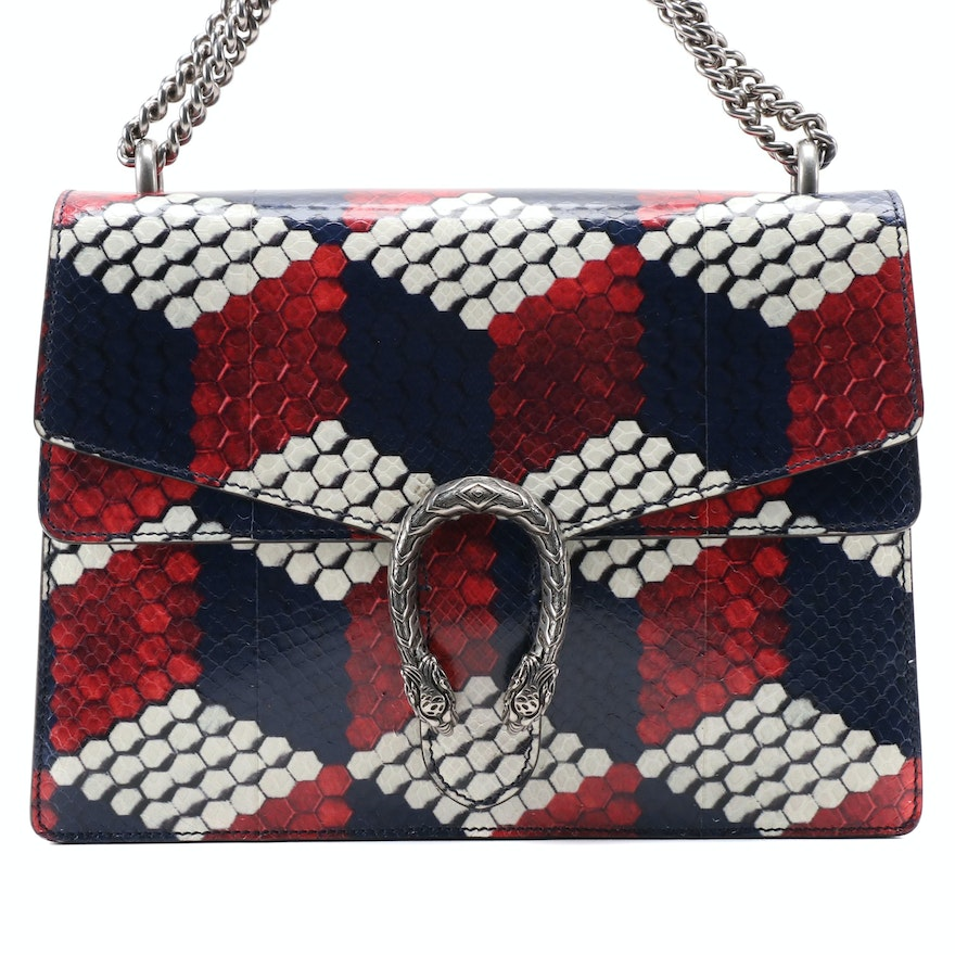 Gucci Medium Dionysus Bag in Cubic Print Python Skin with Two-Way Chain Strap