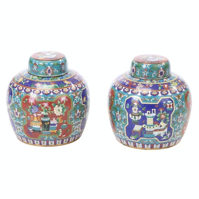 Pair of Imari Style Cloisonné Lidded Jars