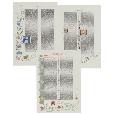 Hand-Colored Facsimile Pages From Gutenberg Bible