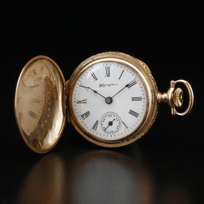 1911 Hampden 14K Gold Hunting Case Pocket Watch