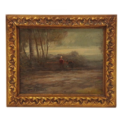 William P. Tadman Oil Painting of Figures in Landscape