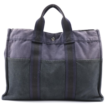 Hermès Fourre Tout MM Tote Bag in Blue and Black Cotton Canvas