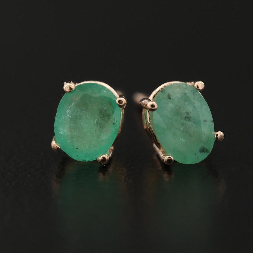 14K Solitaire Emerald Earrings