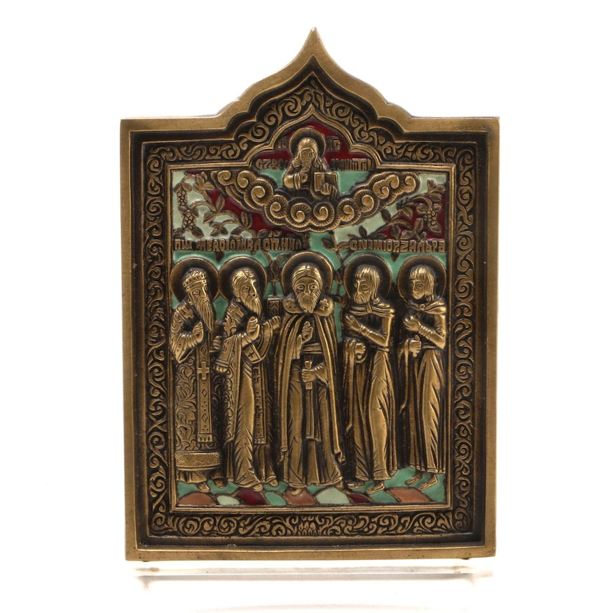 Eastern Orthodox Icon of Selected Saints, Mid to Late 20th Century