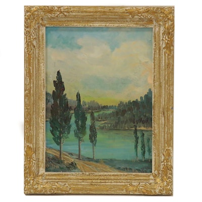 D. Pyle Abstract Landscape Oil Painting of Lake Scene, Mid 20th Century