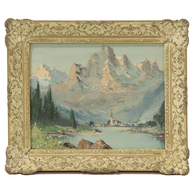 Landscape Oil Painting of Mountain Lake Scene, Mid 20th Century