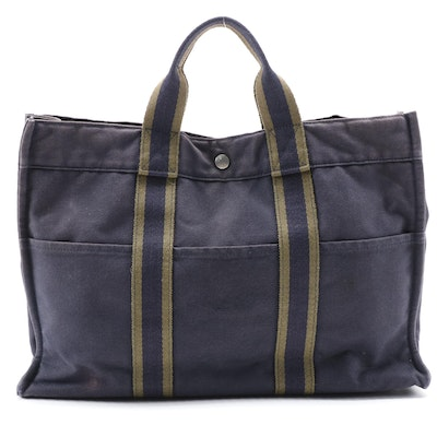 Hermès Fourre Tout MM Tote Bag in Navy Blue Cotton Canvas