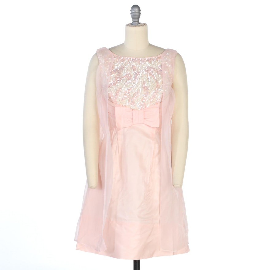 Empire Waist Sleeveless Cape Dress in Pale Pink with Sequins, 1960s Vintage
