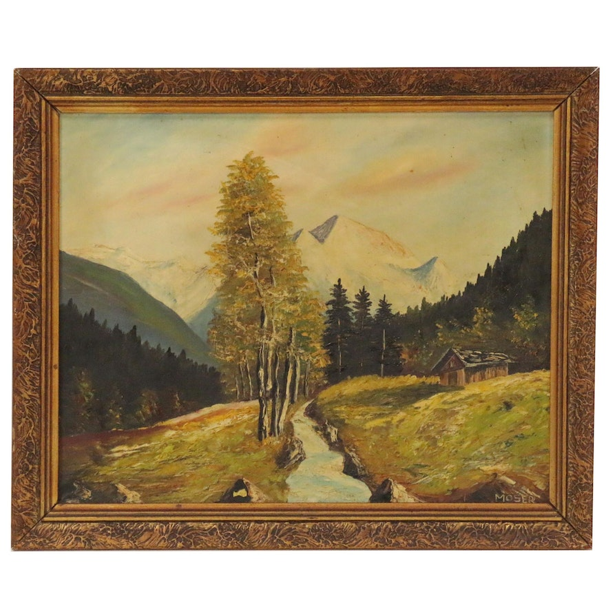 Landscape Oil Painting of Mountain Scene with Cabin, 20th Century
