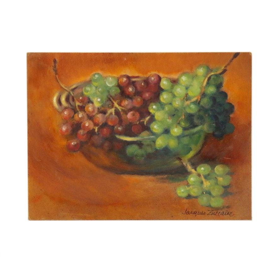 Jacques Zuccaire Still Life Oil Painting of Bowl of Grapes