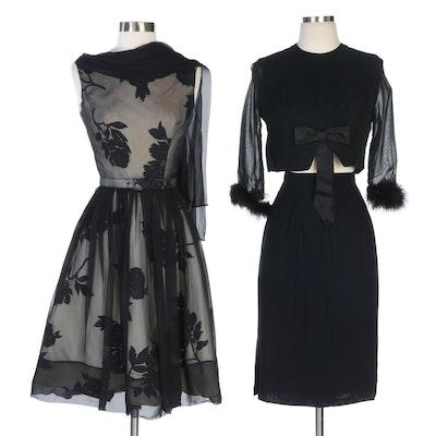 Scarf Dress, Marabou Jacket and Pencil Skirt, 1960s Vintage