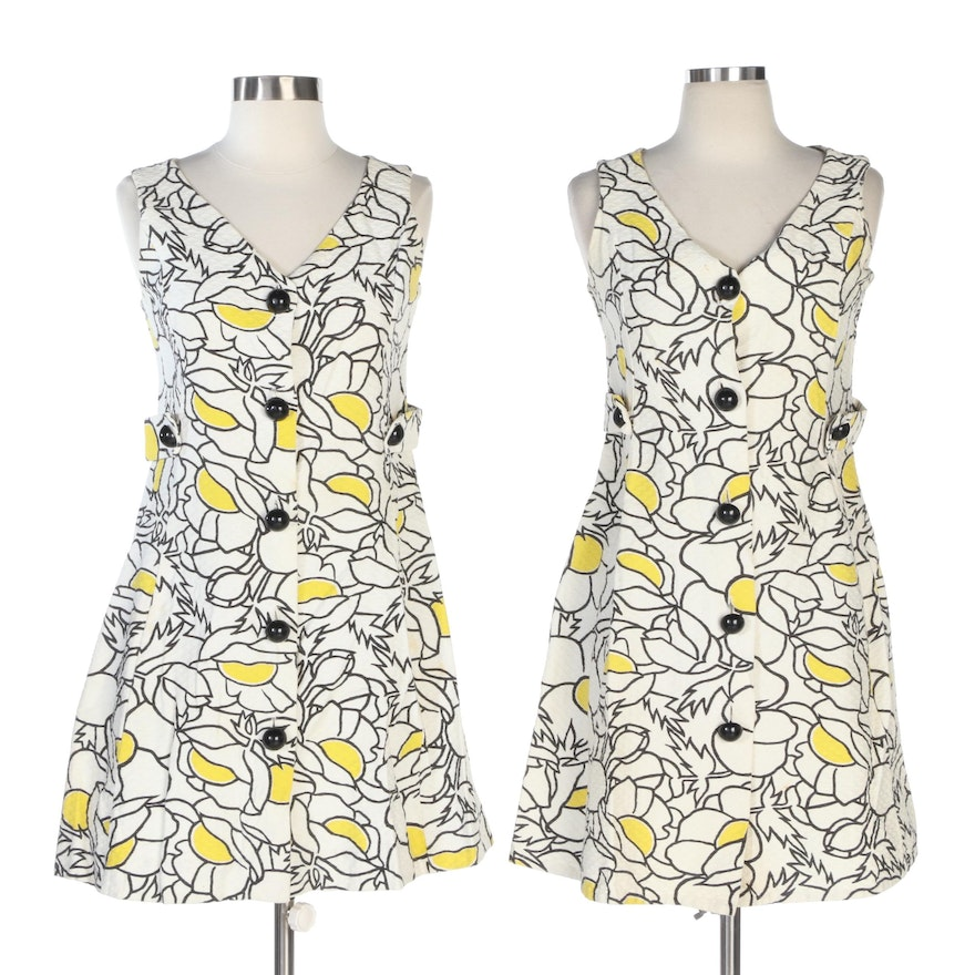 Campus Girl by Yanina Matching Floral Print Dresses in Textured Cotton, Vintage