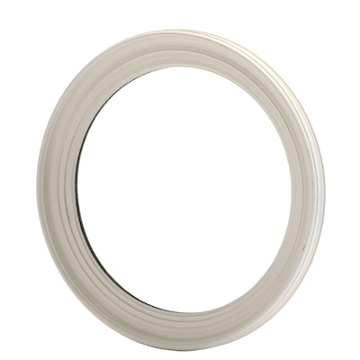 White Painted Wooden Round Wall Mirror