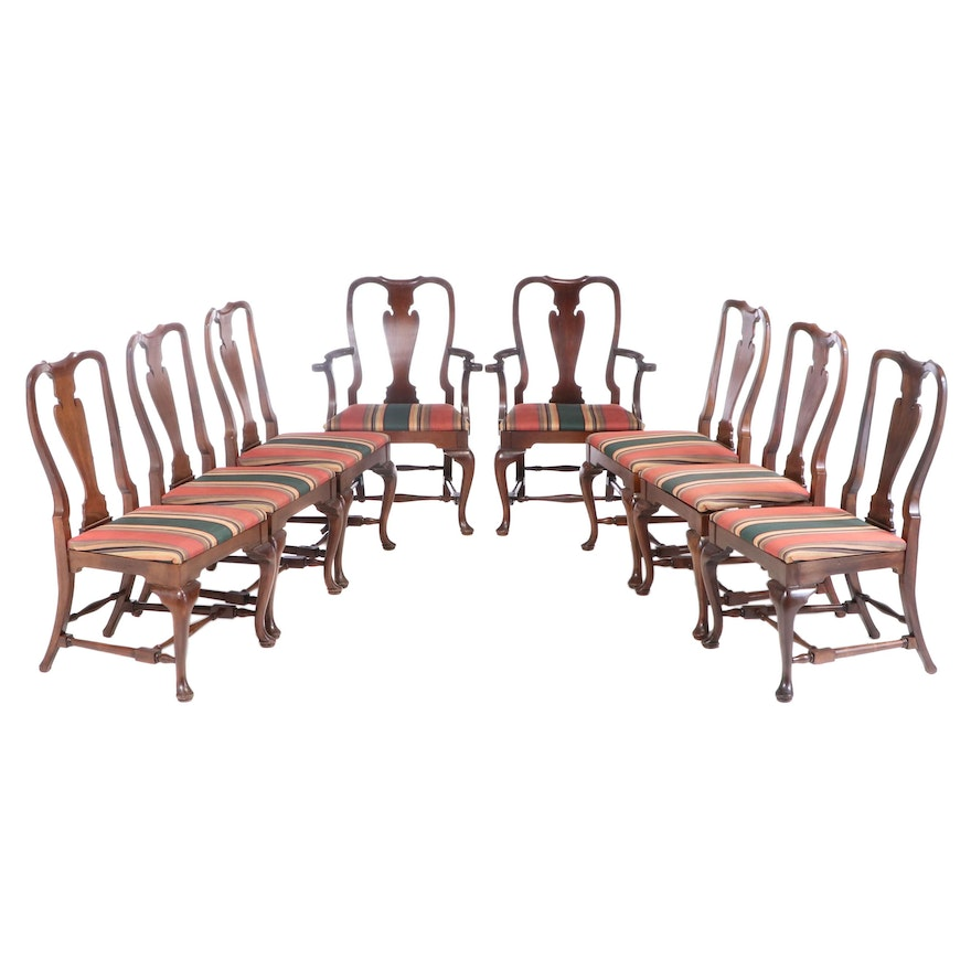 Queen Anne Style Walnut Fiddle Back Dining Chairs, Late 20th Century