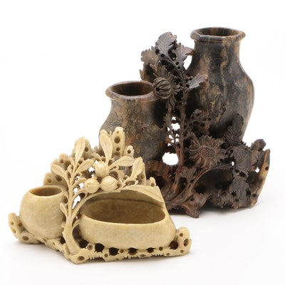 Chinese Carved Soapstone Brush Pots