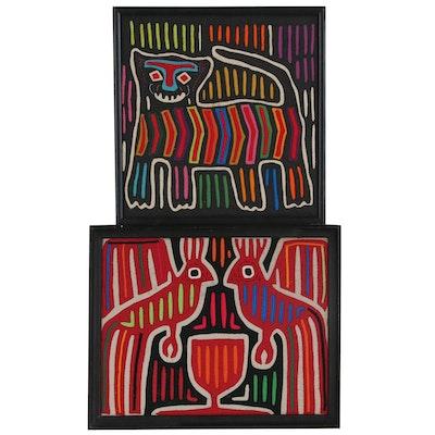 Panamanian Guna Mola Folk Art Appliqué Textile Panels