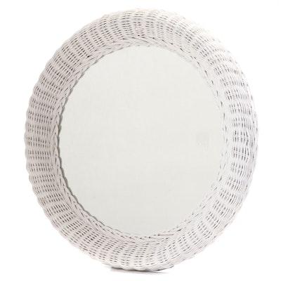 White Painted Round Wicker Wall Mirror