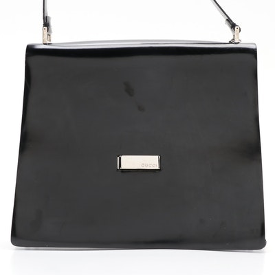 Gucci Structured Shoulder Bag in Glazed Black Box Calf Leather