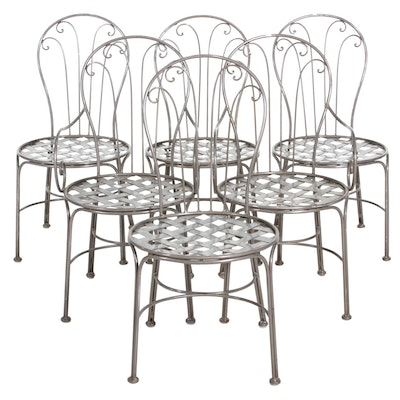Six Bistro-Style Metal Patio Chairs