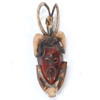 Guro Polychrome Wood Mask with Animal Motif, Cote d'Ivoire