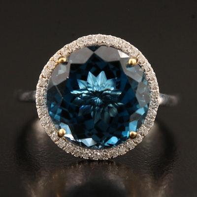 14K Topaz Ring with Diamond Halo