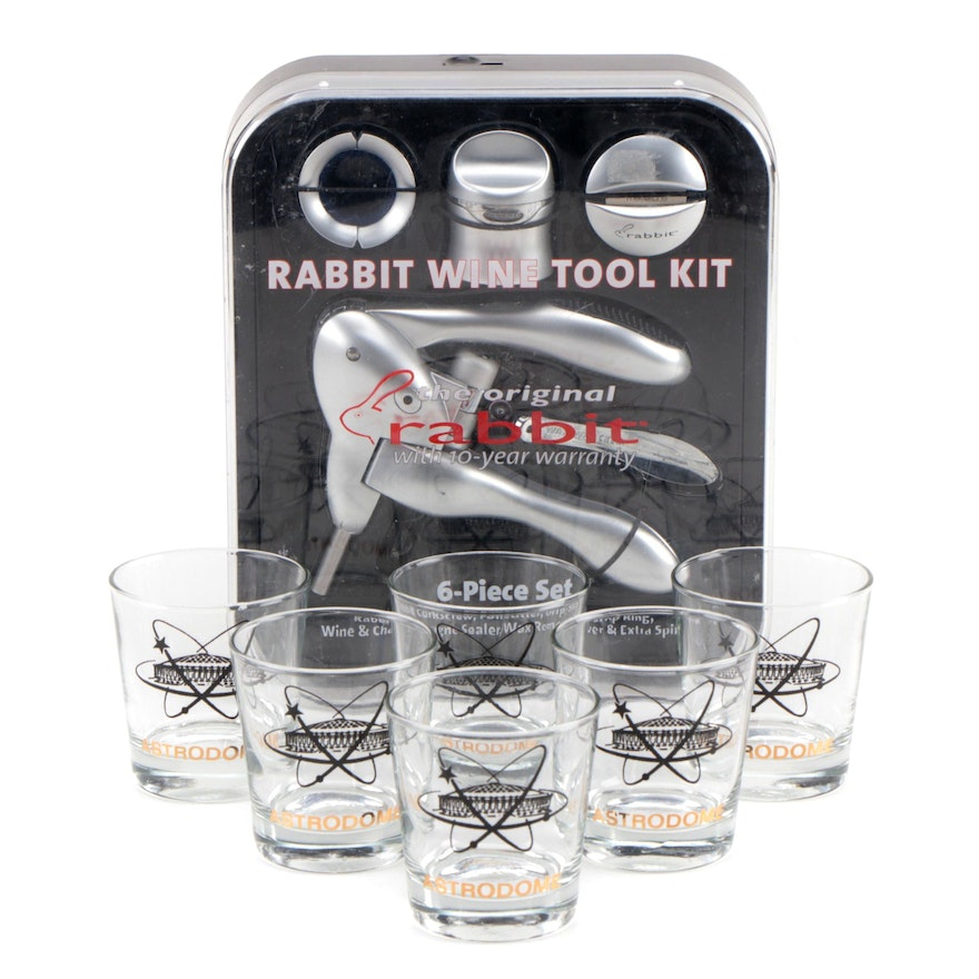 Rabbit Wine Tool Kit with Set of Old Fashion Glasses with Astrodome Logo