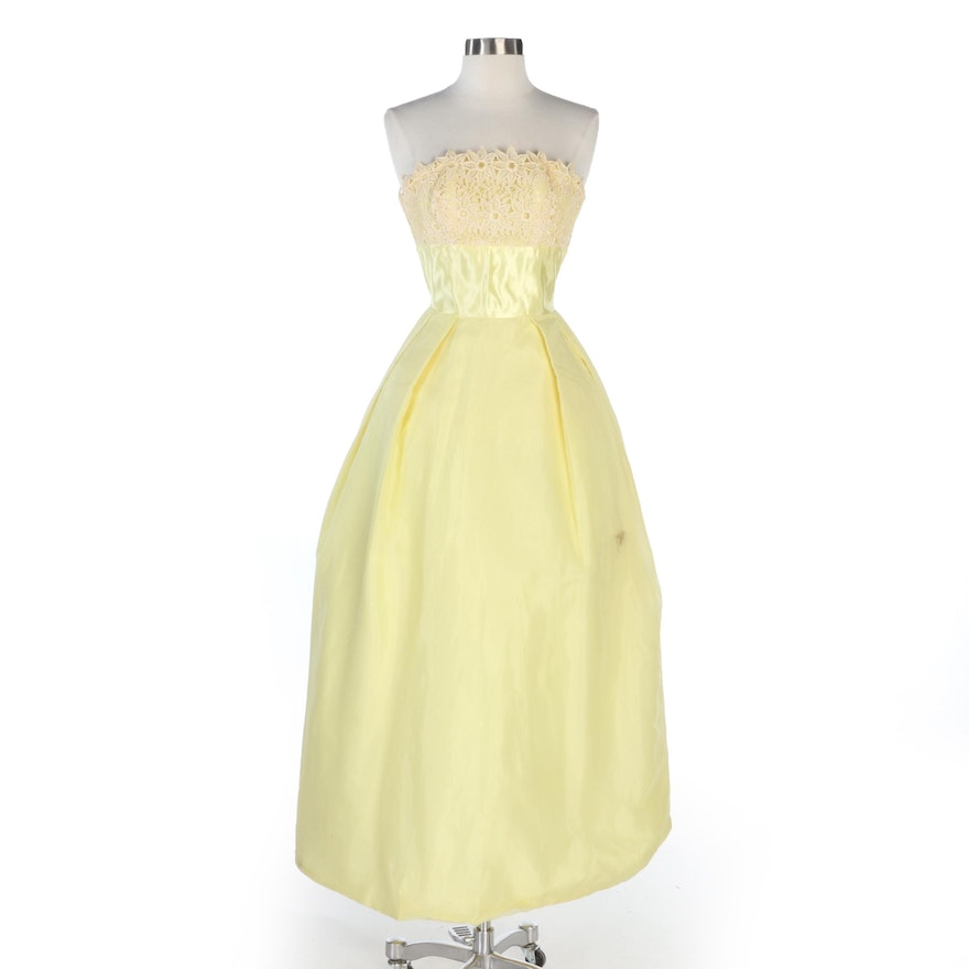 Union Made Dress in Yellow Lace and Chiffon and Crinoline Petticoat, Vintage