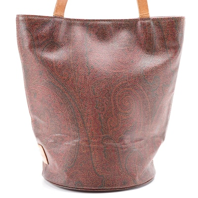 ETRO Small Bucket Bag in Paisley Coated Canvas with Leather Trim