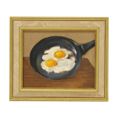 Jacques Zuccaire Still Life Oil Painting of Eggs in Frying Pan