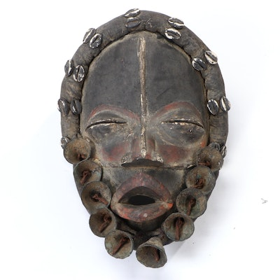 Dan Carved Wood Mask with Embellishments, West Africa