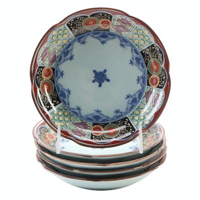 Japanese Imari Style Transfer Decorated Porcelain Shallow Bowls