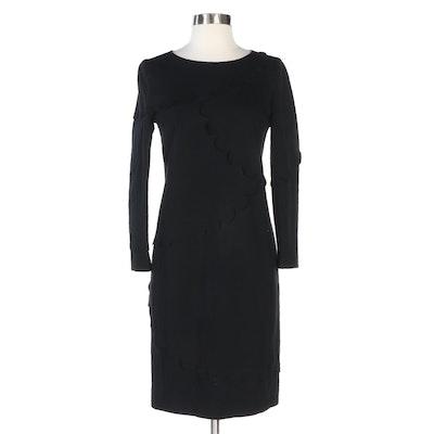Akris Punto Scallop Trim Black Long Sleeve Dress