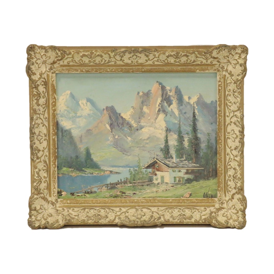 Landscape Oil Painting of Swiss Mountain Scene with Chalet, Mid 20th Century