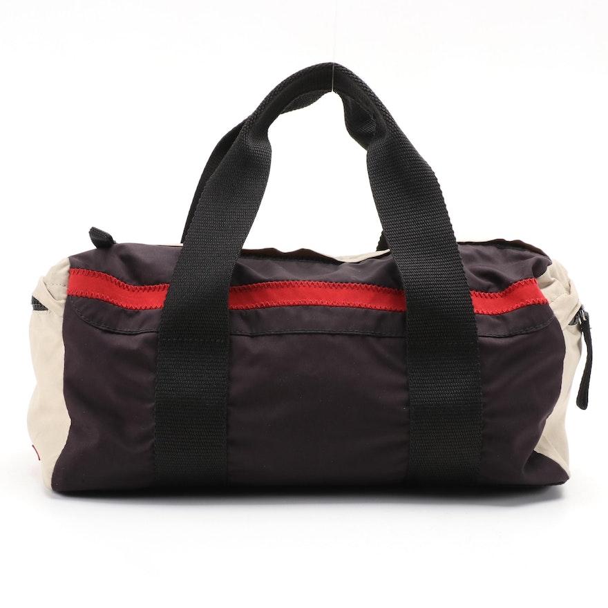 Prada Sport Nylon Color Block Duffel Handbag