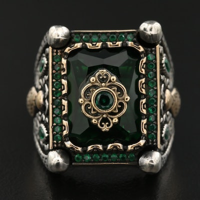 Sterling Silver Cubic Zirconia Ring with Scrollwork